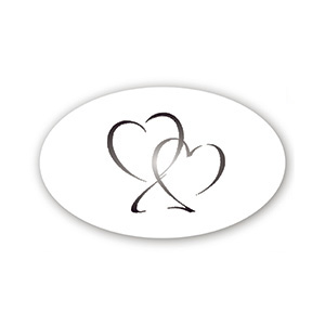 Pre-printed adhesive label with hearts, oval Transparent Sticker with Custom Logo Print 39 x 24