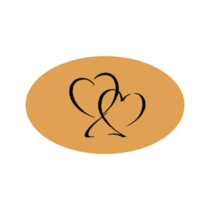 Etiquette adhésives avec des coeurs, ovale Doré 39 x 24