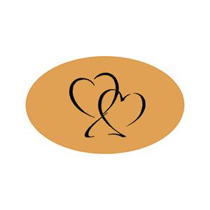 Ovalt klistermærke trykt med hjerter Mat guld label  39 x 24