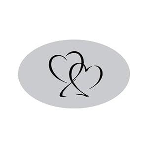 Klistermärka, oval: Hjärtan Silver 39 x 24