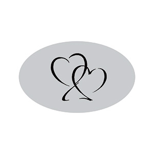 Voorgedrukt etiket met harten, ovaal Mat zilverkleurig etiket met bedrukking 39 x 24