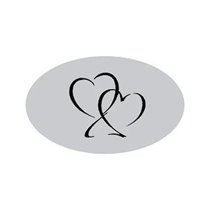 Ovalt klistermærke trykt med hjerter Mat sølv label  39 x 24