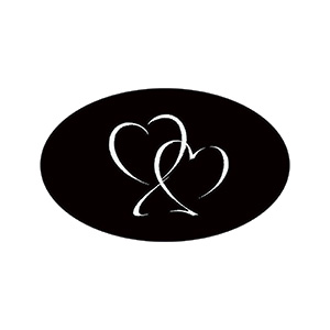 Voorgedrukt etiket met harten, ovaal Mat zwart etiket met bedrukking 39 x 24
