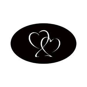 Ovalt klistermærke trykt med hjerter Mat sort label  39 x 24