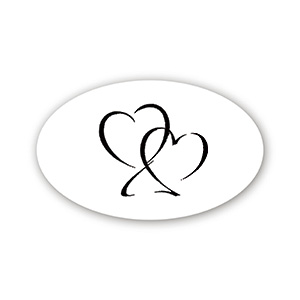 Pre-printed adhesive label with hearts, oval