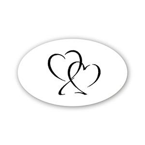 Ovalt klistermærke trykt med hjerter Mat hvid label  39 x 24