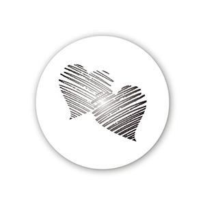 Etiquette adhésives avec des coeurs, ronde