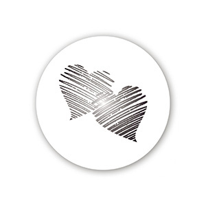Pre-printed adhesive label with hearts, round Transparent Sticker with Custom Logo Print 32 x 32