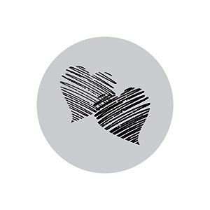 Pre-printed adhesive label with hearts, round