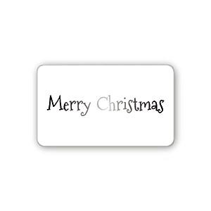 "Pre-printed adhesive label ""Merry Christmas"" Transparent Sticker with Custom Logo Print 32 x 19"