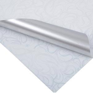 Papier cadeau nº 0176 Blanc avec motif bouclé/ argent mat, réversible  70 cm x 50 cm - 80 g