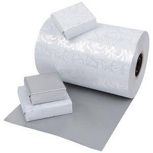 Cadeaupapier 0176 Wit met krullenpatroon/ mat zilver, dubbelzijdig  20 cm - 160 m - 80 g