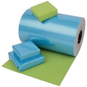 Papier 0935 - Blauw-zilver /Groen-wit met stipjes