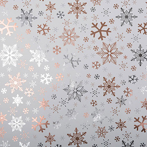 Wrapping Paper nº 2570  White paper with silver and copper snowflakes  20 cm - 100 m - 74 g