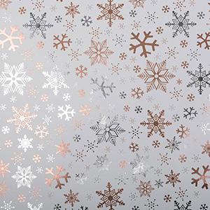 Gavepapir 2570 Hvid med snefnug i sølv og kobber  50 cm - 100 m - 74 g