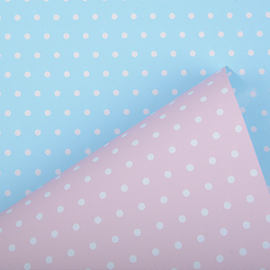 Papier cadeau nº pour les enfants 6301 Rose clair / Blue clair avec pois, réversible  30 cm - 160 m - 80 g