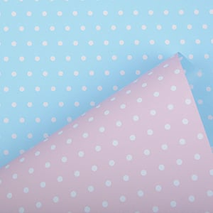 Wrapping Paper nº for children 6301 Rose / Baby Blue with Polka Dots, Reversible  30 cm - 160 m - 80 g