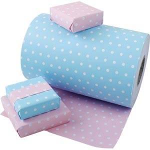Papier cadeau nº pour les enfants 6301 Rose clair / Blue clair avec pois, réversible  57 cm - 160 m - 80 g