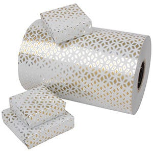 Wrapping Paper 6750 - White with Gold/Silver