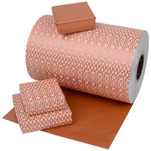 Papier cadeau nº 6770 - Motif en cuivre/rose