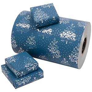 Wrapping paper 7003 - Petrol blue/Silver trees