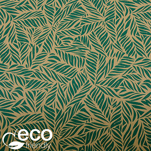 Miljövänligt presentpapper 7330 ECO Brunt kraftpapper med små gröna blad  20 cm - 100 m - 70 g