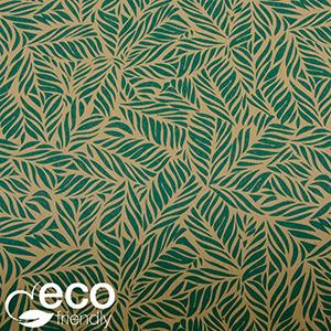 Milieuvriendelijk cadeaupapier 7330 ECO Bruin kraftpapier met kleine groene blaadjes  50 cm - 100 m - 70 g
