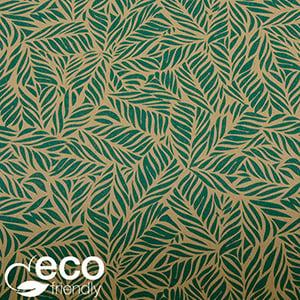 Miljövänligt presentpapper 7330 ECO Brunt kraftpapper med små gröna blad  50 cm - 100 m - 70 g