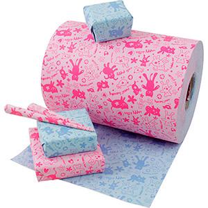 Papier do pakowania 8932 Dwustronny: niebiesko/Różowywe wzory  20 cm - 160 m - 70 g
