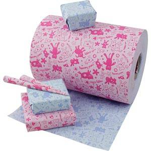 Gavepapir til børn 8932 Vendbart børnepapir i rosa/blå  40 cm - 160 m - 70 g