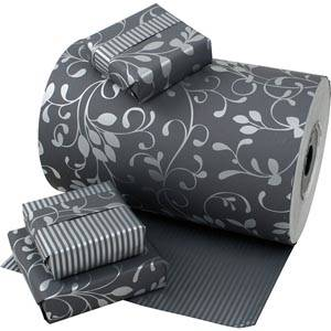 Wrapping Paper nº 9130 Dark Grey with Silver Flowers/ Stripes, Reversible  40 cm - 150 m - 80 g