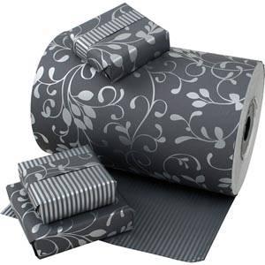 Gavepapir 9130 Mørkegrå med sølv blomster/striber, dobbeltsidet  40 cm - 150 m - 80 g