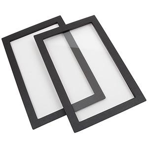 Lock till liten ytterram konstskinn, lättvikt Svart konstskinn m/fönster 235 x 156 x 8
