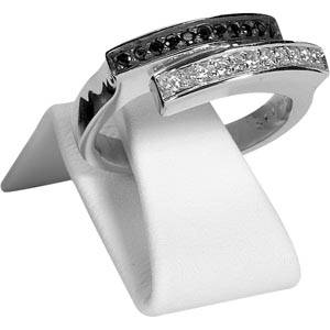 Display stand with clip for ring, medium White Nappa leatherette  x 20