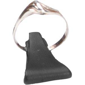 Display stand with clip for ring, small Black Nappa leatherette 25 x 15
