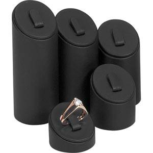 Ring Displays Set, 5 pcs Black Nappa leatherette