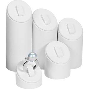 Ring Displays Set, 5 pcs White Nappa leatherette