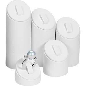 Ring Displays Set, 5 pcs White Nappa leatherette