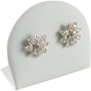 Display til øreringe, lille Hvid nappa kunstskind 34 x 28