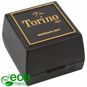 Torino BIO écrin pour bague / alliances Noir bioplastique, liseré doré / Mousse noire 44 x 47 x 33 (41 x 44 x 32 mm)