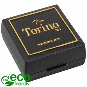Torino BIO écrin pour BO / pendentif Noir bioplastique, liseré doré / Mousse noire 48 x 45 x 22 (41 x 44 x 6 mm)