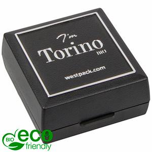 Torino BIO écrin pour BO / pendentif Noir bioplastique, liseré argenté / Mousse noire 48 x 45 x 22 (41 x 44 x 6 mm)