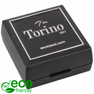 Torino BIO Jewellery Box for Earrings / Studs Black Bio-plastic with silver tooling/ Black Foam 48 x 45 x 22 (41 x 44 x 6 mm)