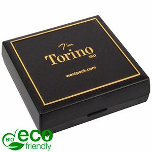 Torino BIO écrin bracelet / grand pendentif Noir bioplastique, liseré doré / Mousse noire 84 x 84 x 25 (80 x 80 x 7 mm)