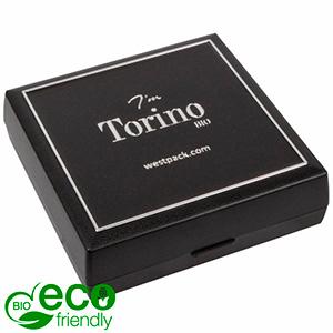 Torino BIO écrin bracelet / grand pendentif Noir bioplastique, liseré argenté / Mousse noire 84 x 84 x 25 (80 x 80 x 7 mm)