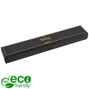 Torino BIO écrin bracelet, long Noir bioplastique, liseré doré / Mousse noire 215 x 35 x 21 (214 x 35 x 3 mm)