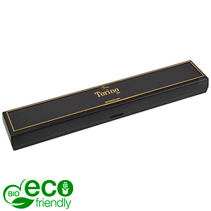 Torino BIO Jewellery Box for Bracelet Black Bio-plastic with gold tooling/ Black Foam 215 x 35 x 21 (214 x 35 x 3 mm)