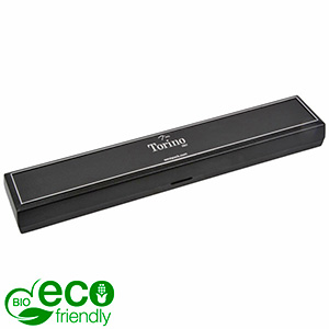 Torino BIO Jewellery Box for Bracelet Black Bio-plastic with silver tooling/ Black Foam 215 x 35 x 21 (214 x 35 x 3 mm)