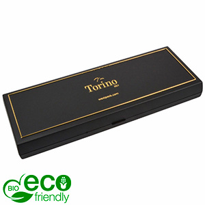 Torino BIO Oblong Jewellery Box for Necklace Black Bio-plastic with gold tooling/ Black Foam 205 x 72 x 23 (204 x 74 x 3 mm)