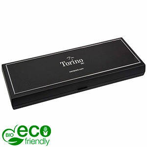 Torino BIO Oblong Jewellery Box for Necklace Black Bio-plastic with silver tooling/ Black Foam 205 x 72 x 23 (204 x 74 x 3 mm)